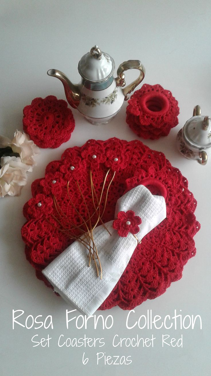 Coaster Crochet Red