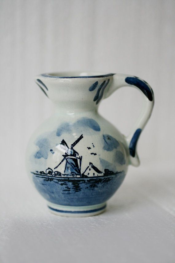 Vintage Delft Blue Whindmill Creamer Delft Blue Dutch By
