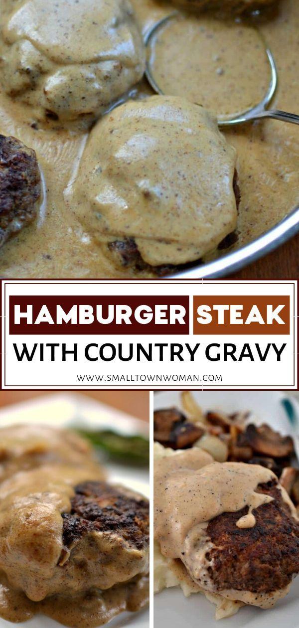 Hamburger Steak Recipe In 2020 Hamburger Steak Easy Meat Recipes Country Gravy
