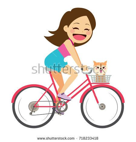 Cute young beautiful girl on bicycle with her dog #cute #character #bicycle #child #kid #track #girl #vector #illustration