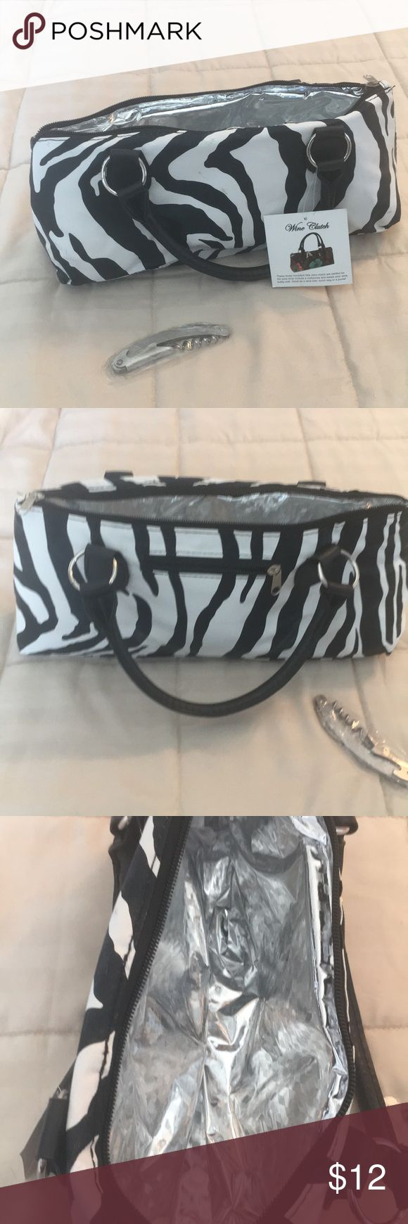 Wine Clutch Insulated wine purse. Come with cork screw. Zebra pattern Bags #WinePurse