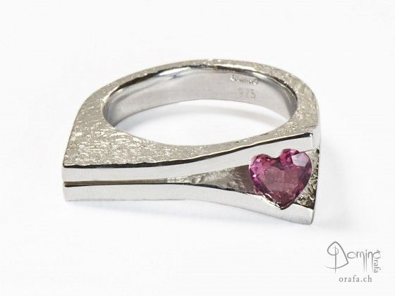 Open ring with shaped heart tourmaline