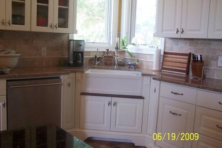 Corner Kitchen Sink And Windows Corner Farmhouse Sink Under Windows Glass Doo Kitchen Remodel Small Corner Sink Kitchen Kitchen Remodel