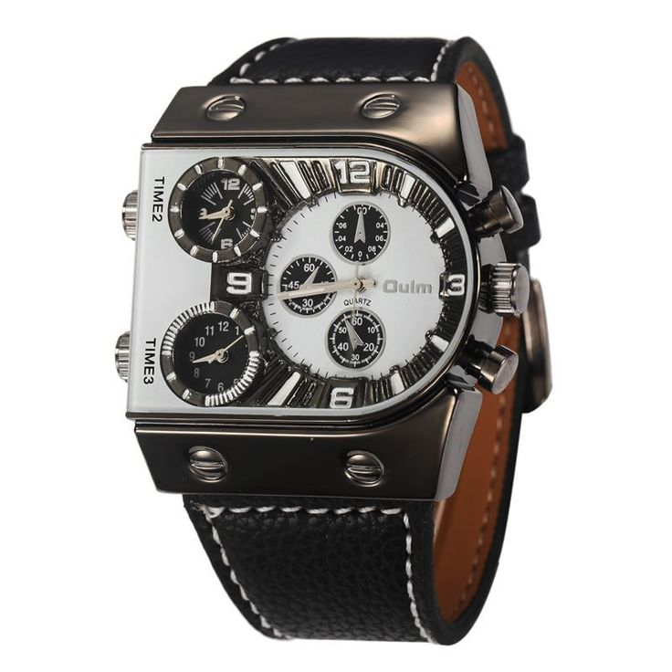 Luxury Men Watch PU Leather Wrist Watch For Men , Military with Large Face