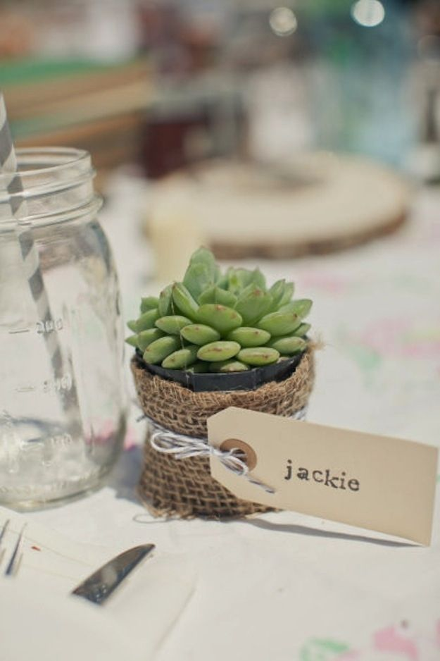 Cute and Clever Placecard Ideas. I am loving the succulents, pinwheels, and spools of thread...