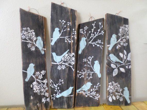 4 Bird Wall Decor Country Custom Order Rustic Shabby Chic Sign Wood