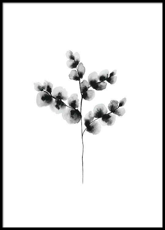 Svartvit tavla med blomma