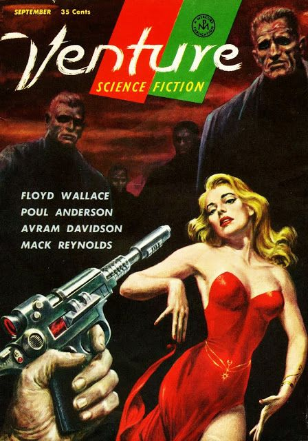 Pulp Sci-Fi & Fantasy Cover Art: Ed Emshwiller. (Reminds me of Godard's quote that all you need to make a film is a girl and a gun.)