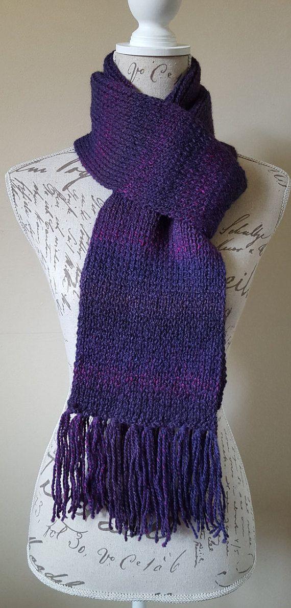 Hand-Knitted.Dark Purple.Long.Winter.Fringe Scarf.