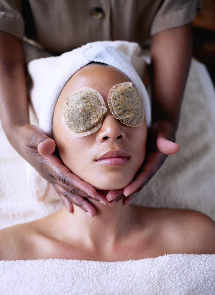 spa facials...use organic herbal tea bags for eyes...chamomile for soothing...peppermint for refreshing!