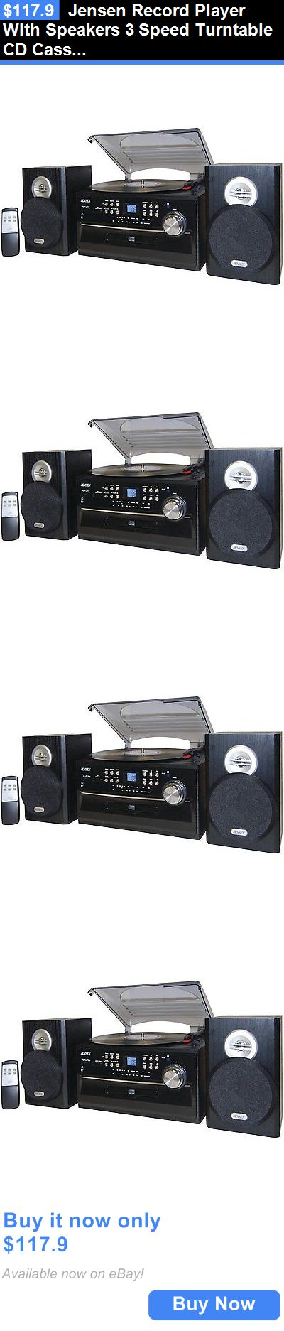 Home Audio: Jensen Record Player With Speakers 3 Speed Turntable Cd Cassette Stereo System BUY IT NOW ONLY: $117.9