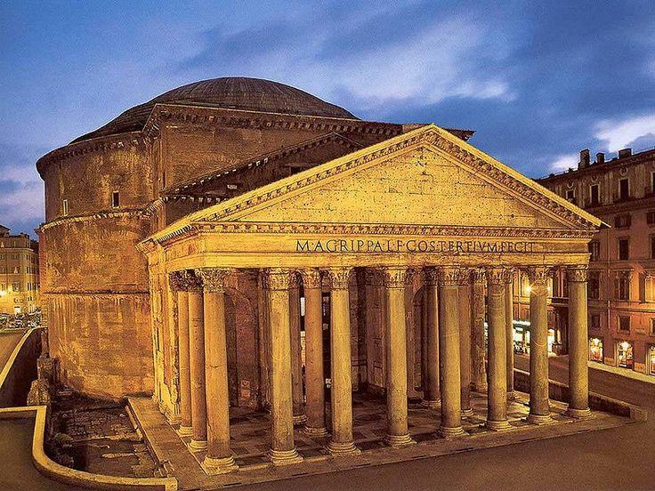 Estas construcciones arquitectonicas se construyeron para contener la imagen de estos mismos dioses, cada dios tiene su templo, donde se lo podía adorar y pedirle cosas. Este es el Panteón Romano.