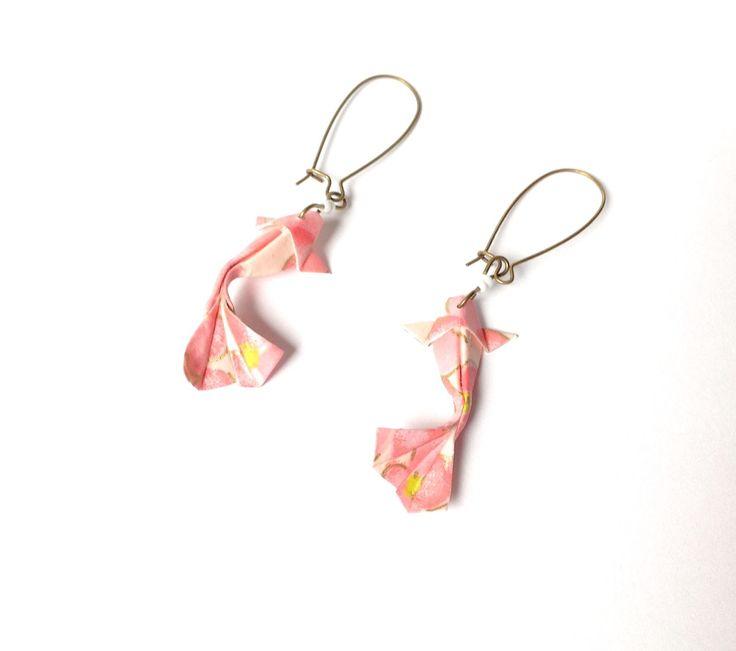 Poisson origami Boucles d'oreilles origami, carpe japonaise Koï, bijou origami…