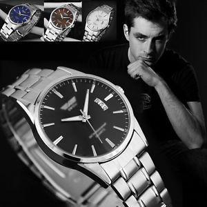 Mens Luxury Stainless Steel Band Sport Analog Date Quartz Business Wrist Watch   eBay