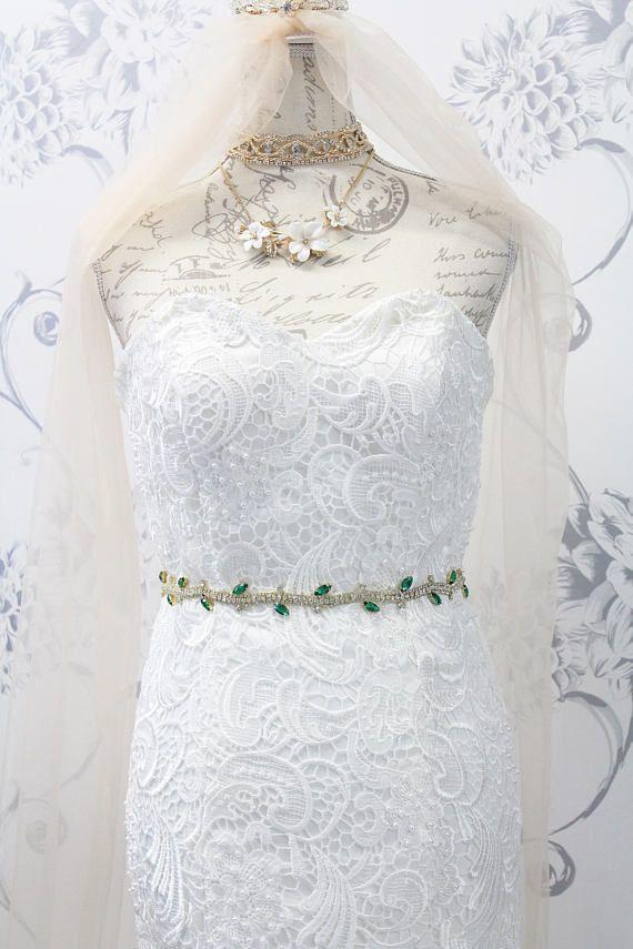Green Gold Wedding dress belt  Grecian Skinny Belt Skinny
