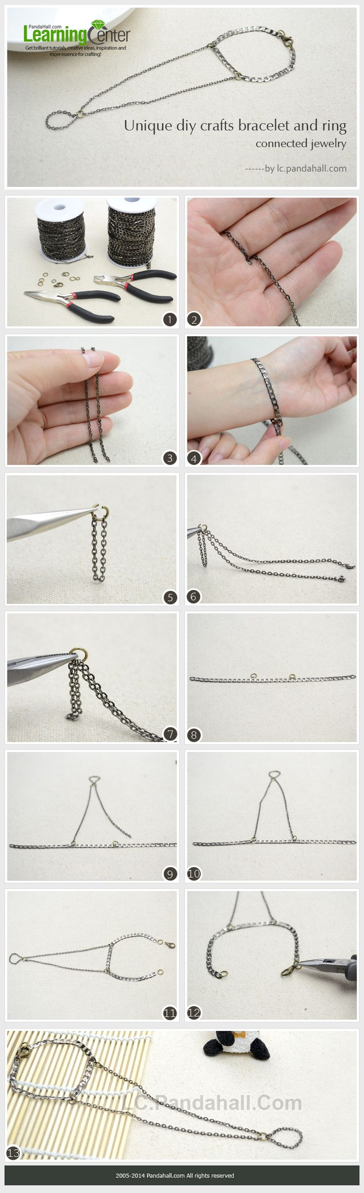 Slave Bracelet DIY - How to make a Bracelet and Ring Connected Jewelry with Chain