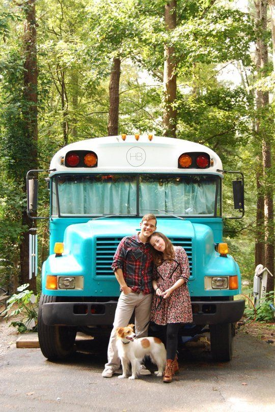 Julie and Andrew's Cozy Home in a Blue Bird School Bus
