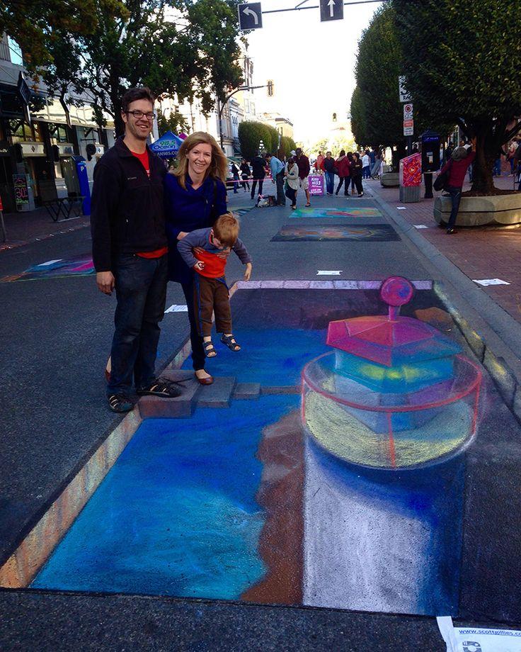 Fisgard Lighthouse 3D Chalk drawing for Victoria Chalk Art Festival 2015 Anamorphic