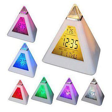 Walid-Changing Pyramid Colorful clock Digital LED Alarm Clock Calendar Thermometer Time  #Alarm #Calendar #Clock #Colorful #Digital #pyramid #RusticMantelClock #Thermometer #Time #WalidChanging The Rustic Clock