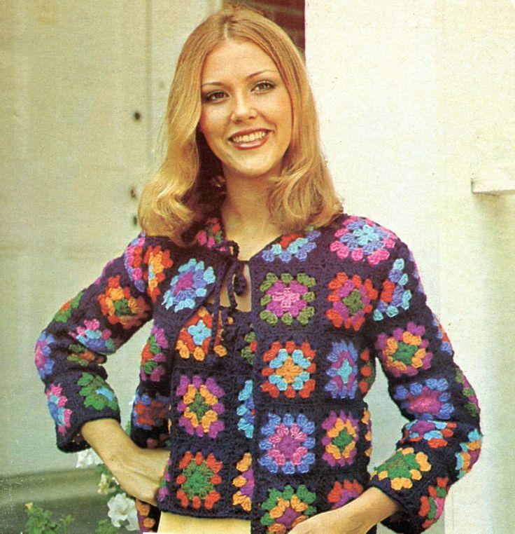 1970's Granny Squares Sweater Set, Vintage Crochet Pattern