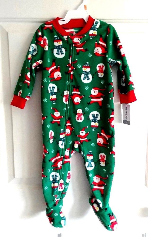 f2630454ca68 NEW Boys 12 Month Xmas Fleece Footed Pajamas  20 CARTERS Santa 9-12 ...