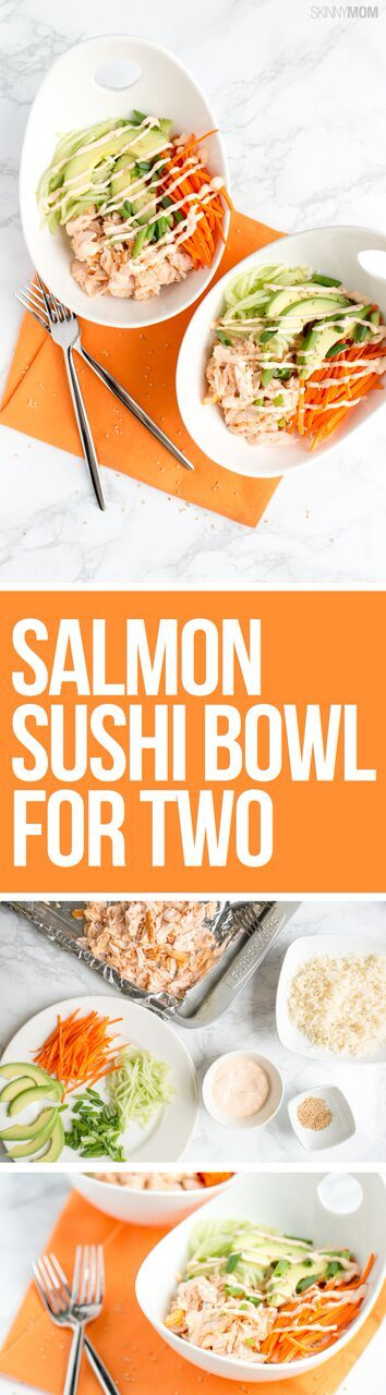 Salmon Sushi Bowl for Two - The delicious taste of sushi, minus the roll! #healthyrecipes #seafood #recipesfortwo