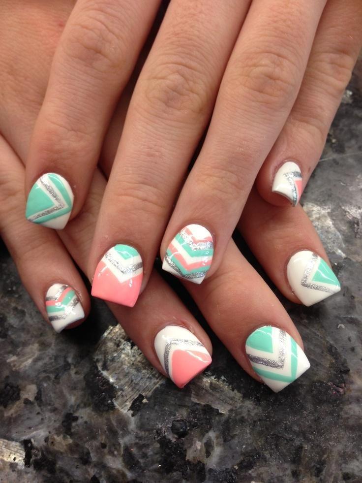 Chevron Nails. Mint, Peach, White, Silver Metallic. Luv the colors not the nail shape