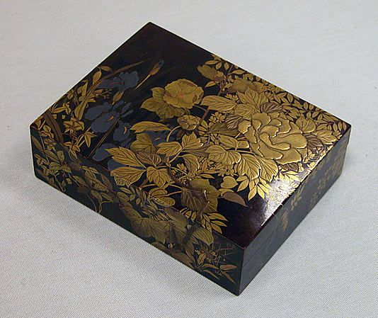 Box for Incense with Design of Peonies, Iris, Morning Glories, and Wisteria, by Kajikawa School, Meiji period (1868–1912), 19th century, Gold and silver maki-e on black lacquer, H. 9.5 cm; W. 12.1 cm; D.3.8 cm ©The Metropolitan Museum of Art #Urushi, #Laque, #Japon, #Lacquer, #Japan