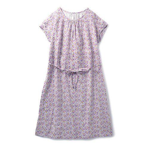 Amazon.co.jp: ゆるシルエットでらくちん ダブルガーゼのルームワンピース(パープル×オレンジ): 服&ファッション小物通販