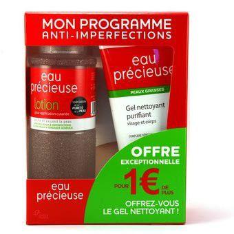 Eau Précieuse Coffret Lotion 375ml + Gel Nettoyant Purifiant 150ml - Pharmacie Lafayette - Acné & peaux grasses