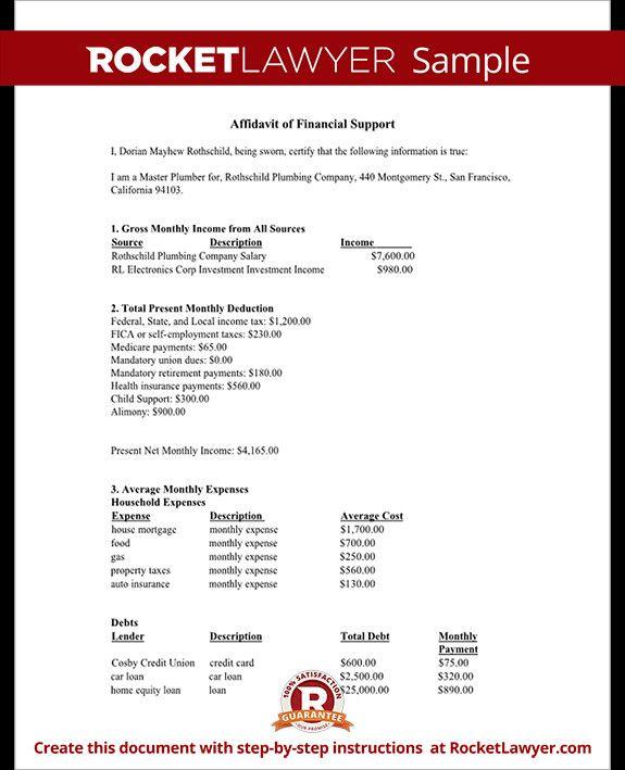 Affidavit Letter Of Support Example Best Of Financial Affidavit