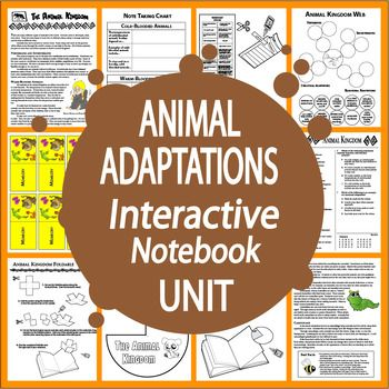 Animal Adaptations of Vertebrates and Invertebrates Structural and Behavioral Adaptations using Nonfiction Informational Science Text, engaging hands-on activities, and THREE Interactive Notebook assignments.