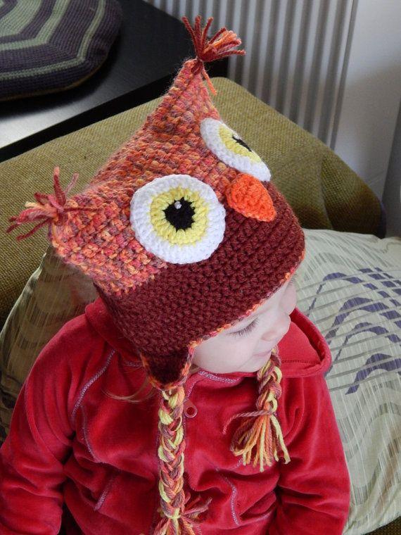 Вязанная крючком зимняя шапочка  сова для от OlgasHandMadeWorld