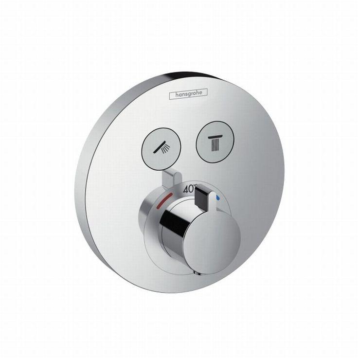 Hansgrohe ShowerSelect S afbouwset voor ééngreeps inbouw thermostaat met stopkraan voor 2 douchefuncties, chroom - 15743000 | Badkamerwinkel.nl