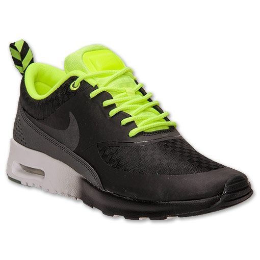Women's Nike Air Max Thea Woven Running Shoes | FinishLine.com | Black/Volt/White