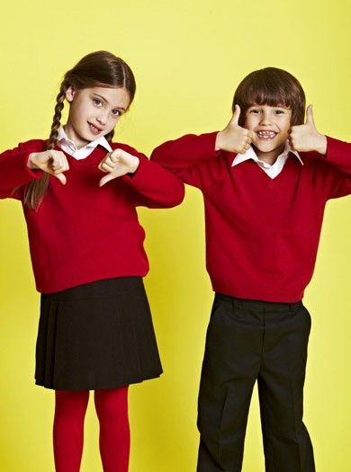 Back to School: Uniforms - via Parentdish - Red Junior Unisex 'V' Neck Jumper, from £5 (also available in blue), Charcoal Junior Boys Adjustable Waist Trousers, from £4.50, Black Junior Girls' Pleated Skirt, from £8, all from BHS.