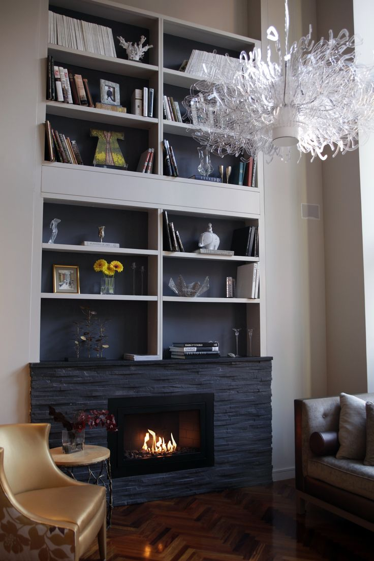 Linear Modern Black Hearth Cabinet Ventless Fireplace Private Residence Nyc Residential