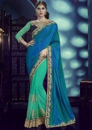 Designer Blue And Green Colored Silk Net And Georgette Saree
