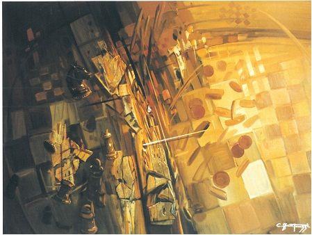 Carlo Fantauzzi ‒ «Ακούγοντας με τα χέρια», «Verso La Sconfitta» (Στο δρόμο προς την ήττα), λάδι σε καμβά, 60Χ80 εκ.  Πηγή: Elio Mercuri, Carlo Fantauzzi, Monti Tipografia, 2000, σελ. 39.
