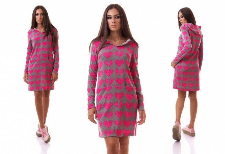 Спортивное ангоровое платье с капюшоном и карманами серое в розовые сердечки))