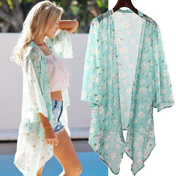 Summer Boho Floral Chiffon Kimono Blazer Outwear Casual ...
