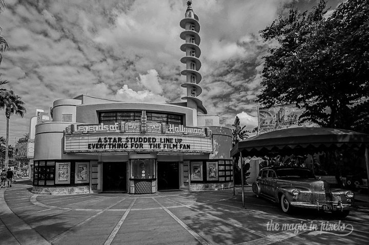Legends of Hollywood on Sunset Boulevard at Disney's Hollywood Stuiods in wide-angle black and white.