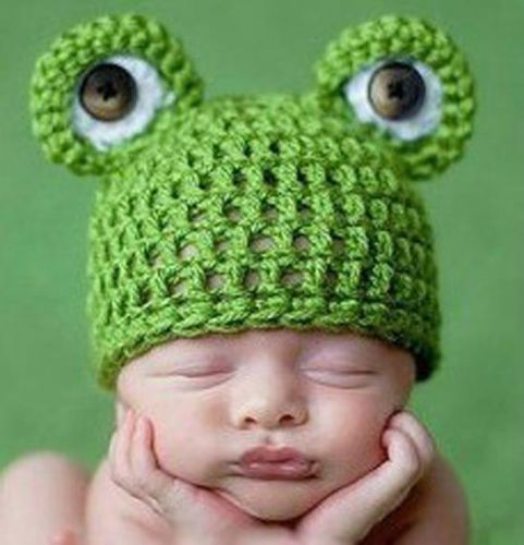 Cute Frog Design Baby Crochet Knit Beanie Cotton Hat Great Photo Props BH005 | eBay