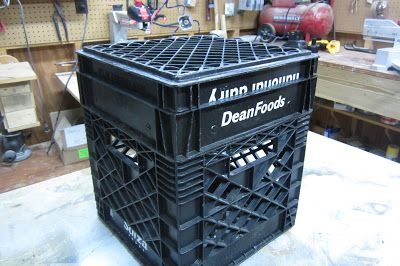 Kayak crate using 3 crates cut to different depths to make a tray and lid. Really good idea.