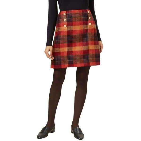 Hobbs Carlin Tartan Skirt (€89) ❤ liked on Polyvore featuring skirts, plaid maxi skirt, plaid pleated skirt, patterned maxi skirt, pleated mini skirt and brown maxi skirt