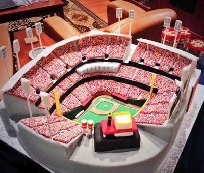 Cincinnati Reds Baseball Wedding Cake