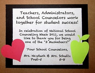 """""""3 Musketeers for Student Success!"""" to Celebrate National School Counseling Week!    Teachers, Administrators, and School Counselors work together for student success!    I made these cards and gave teachers and staff 3 musketeers for National School Counseling Week!"""