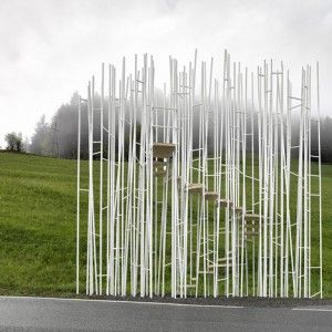 Sou Fujimoto, Smiljan Radic and Wang Shu are among seven international architects invited to design bus stops for a tiny Austrian village in exchange for a holiday there.