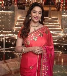 Buy Red embroidered georgette saree with blouse madhuri-dixit-saree online