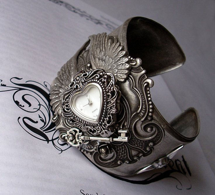 watches: Cuffs Bracelets, Watches Cuffs, Gothic Watches, Watches Bracelets, Wings Silver, Women Watches, Gothic Victorian, Silver Bracelets, Gothic Jewelry